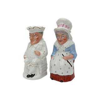 Antique Staffordshire Punch & Judy Jugs - a Pair For Sale