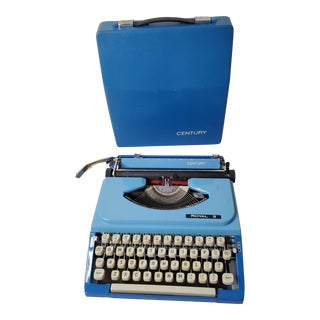 Mid 20th Century Royal Bright Blue Typewriter with Case For Sale