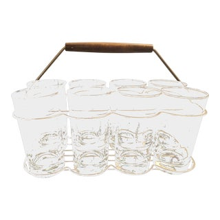 Mid-Century Glass Caddy With Highball Glasses Set of 8 Glasses For Sale