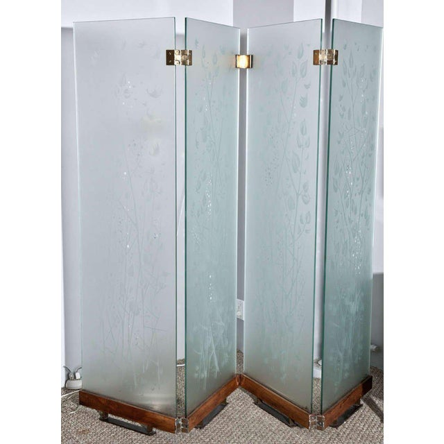 Four-Panel Etched Glass Screen For Sale - Image 9 of 9