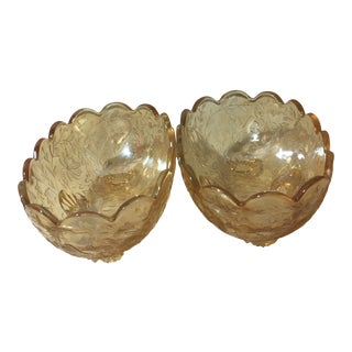 Vintage Jeanette Floral Iridescent Floragold Louisa Scallop Footed Oval Bowls - Set of 2 For Sale