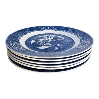 """Vintage Blue Willow Luncheon (6) Plates 9.25"""" Usa For Sale"""