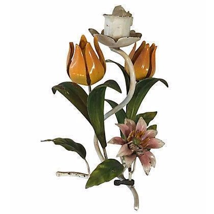 Italian Florentine Tole Candle Holder With Tulips - Image 1 of 5