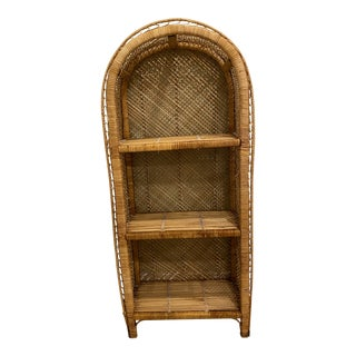 Vintage Boho Wicker and Rattan Peacock bookShelf For Sale