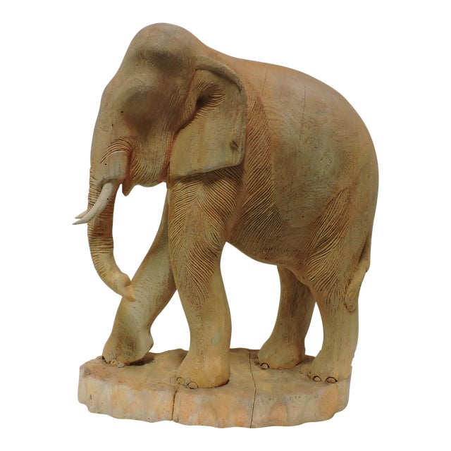 Thai Carved Teak Elephant For Sale