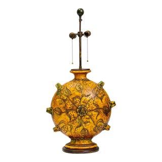 Monumental Glazed Stoneware Lamp For Sale
