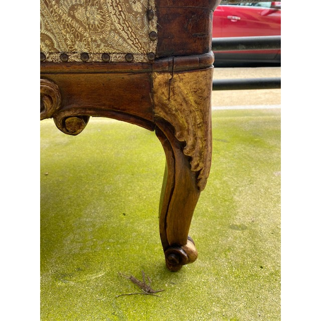 Early 19th C. French Walnut Settee With Guilt Accents For Sale - Image 9 of 13