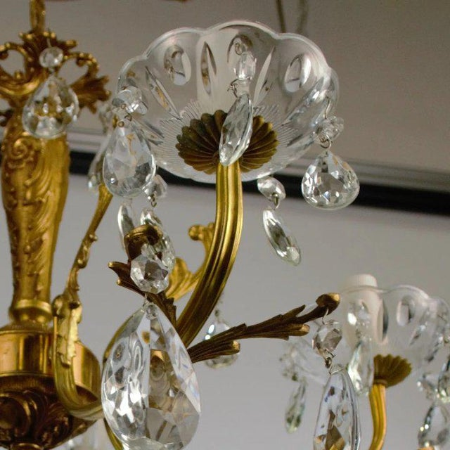 Metal Brass & Crystal Chandelier For Sale - Image 7 of 10