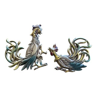 Mid-Century Modern Syracuse Ornamental Company Fighting Rooster Wall Pieces - a Pair For Sale