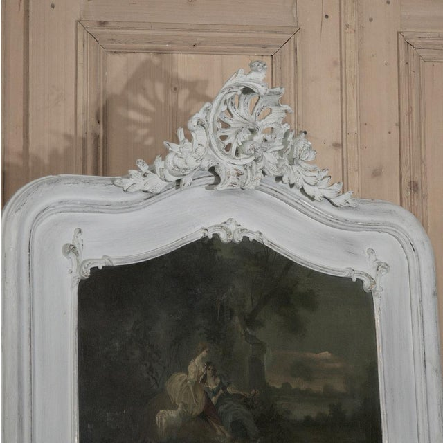19th Century French Louis XV Painted Trumeau/Mirror For Sale - Image 4 of 8