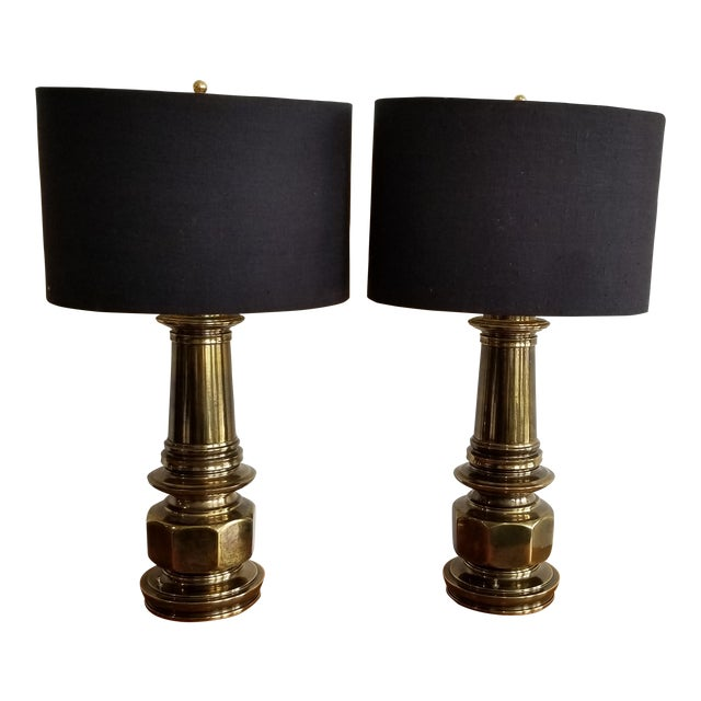 1960's Vintage Brass Lamp With Black Linen Shade - a Pair For Sale
