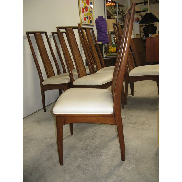Wood Walnut and Cane Dining Chairs by John Stuart- Set of 6 For Sale - Image 7 of 11