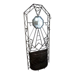 French Art Deco Wrought Iron Hall Stand, Circa 1930 For Sale