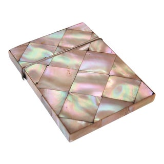 19th Century English Victorian Mother of Pearl Calling Card Case For Sale