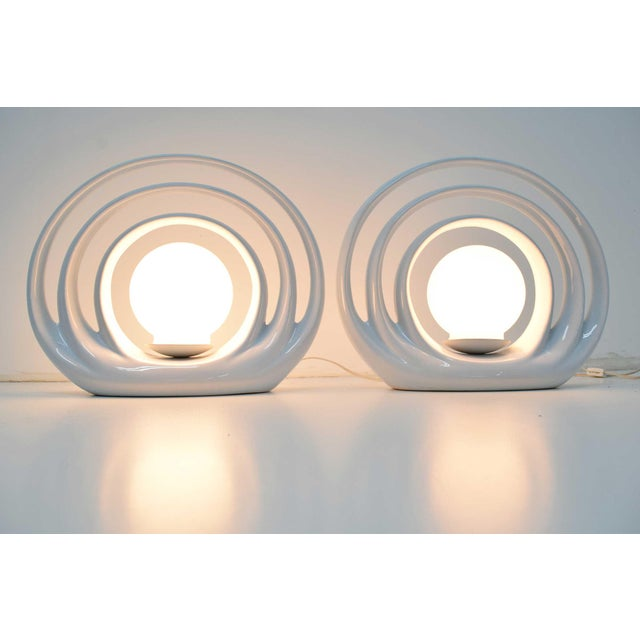 Mid-Century Circular Table Lamps, 1960s - a Pair For Sale In Dallas - Image 6 of 8