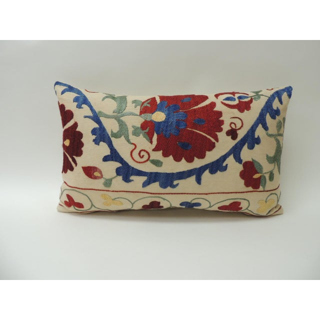 """Vintage Colorful Floral Embroidery """"Suzani"""" Decorative Lumbar Pillow. Hand embroidered silk floss threads on natural..."""