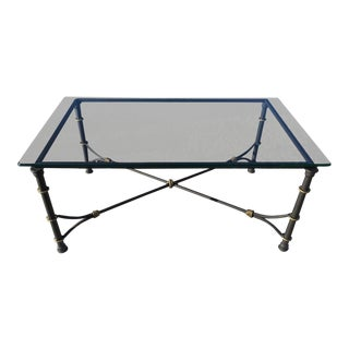 Mid-Century Modern Rectangular Wrought Iron Coffee Table After Giacometti For Sale