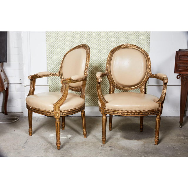 Pair of French Louis XVI Style Gilded Fauteuils For Sale - Image 9 of 9
