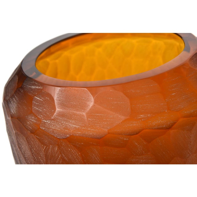Rare Italian Modern Dark Amber and Gilt Decorated Vase, Seguso For Sale - Image 9 of 10