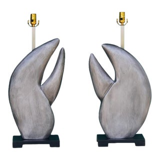 Silvered Lobster Claw Lamps - a Pair For Sale