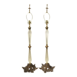 Large Hollywood Regency Murano Italian Glass Brass Ormolu Table Lamps - A Pair For Sale
