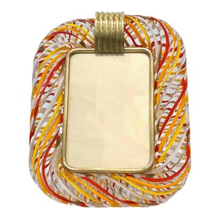 Venini Vintage Red Orange Yellow & White Crystal Murano Glass Photo Frame For Sale
