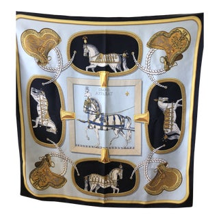 """Vintage Jacques Eudel Hermes """"Grand Apparat"""" Equestrian Square Silk Scarf For Sale"""
