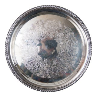 Large Vintage Round Silver Serving Tray For Sale