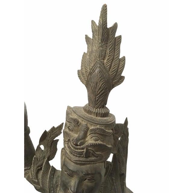 Antique 1920s Carved Khamphi Rosewood Burmese Temple Guardian Statue For Sale - Image 9 of 10