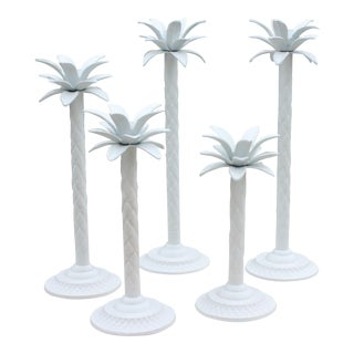 Graduated Palm Tree Candleholders - Set of 5 For Sale