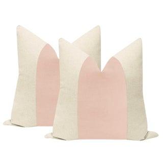"22"" Cameo Velvet Panel & Linen Pillows - a Pair For Sale"