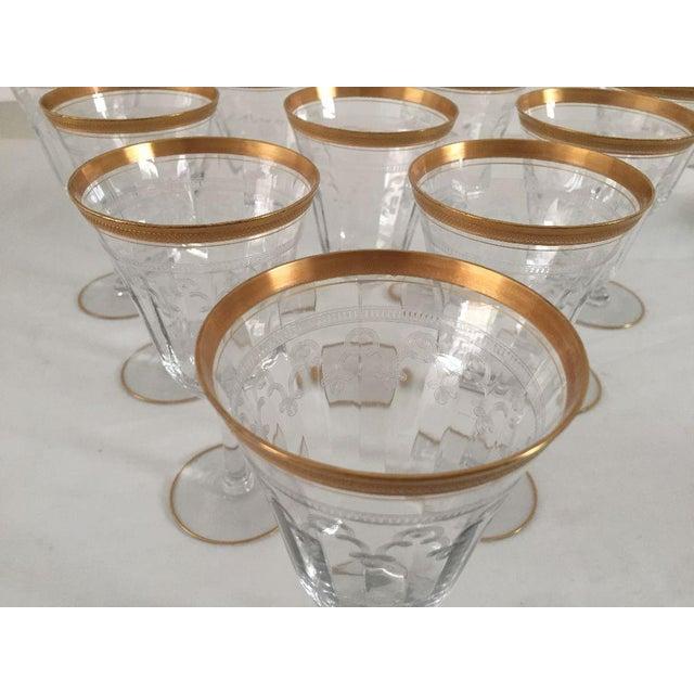Vintage Gold Rim Etched Wine Glasses - Set of 10 For Sale - Image 4 of 7