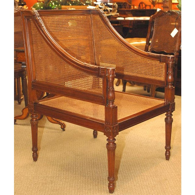 Wicker Large Caned Bergere Chair For Sale - Image 7 of 8