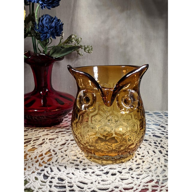 Blown Amber Glass Owl Shaped Candle Holder Vase For Sale - Image 9 of 13
