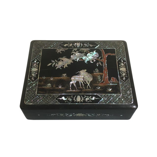 Korean Black Lacquer and Mother of Pearl Document Box, 1930's For Sale