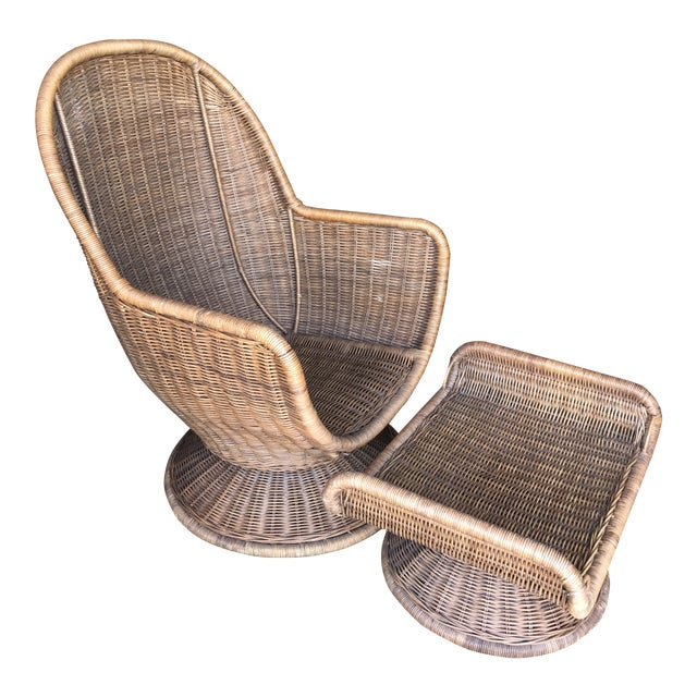 Vintage Wicker Egg Chair and Ottoman For Sale