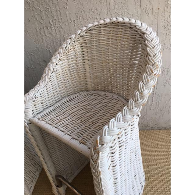 Karl Springer Woven Rattan Bar Stools - a Pair For Sale - Image 4 of 9