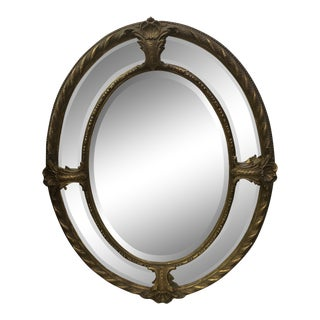 19th Century Belle Epoque Oval Double Framed Bevelled Mirror For Sale