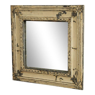 Shabby Chic Distressed Painted Embossed Tin Square Wall Mirror For Sale