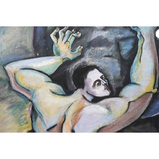Contemporary Late 20th Century Vintage Cubist Style Male Figure Pastel on Paper Painting For Sale - Image 3 of 7