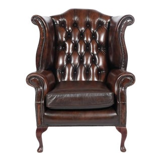 Burgundy Leather Chesterfield Sofa Chair For Sale