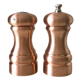 Olde Thompson Brushed Copper Pepper Mill & Salt Shakers - A Pair