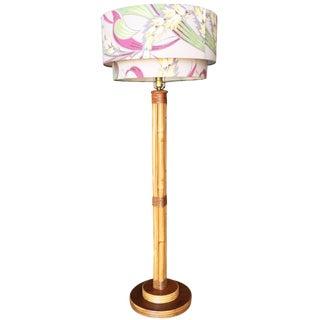 Restored Bent Rattan Pole Floor Lamp W/ Original Shade For Sale