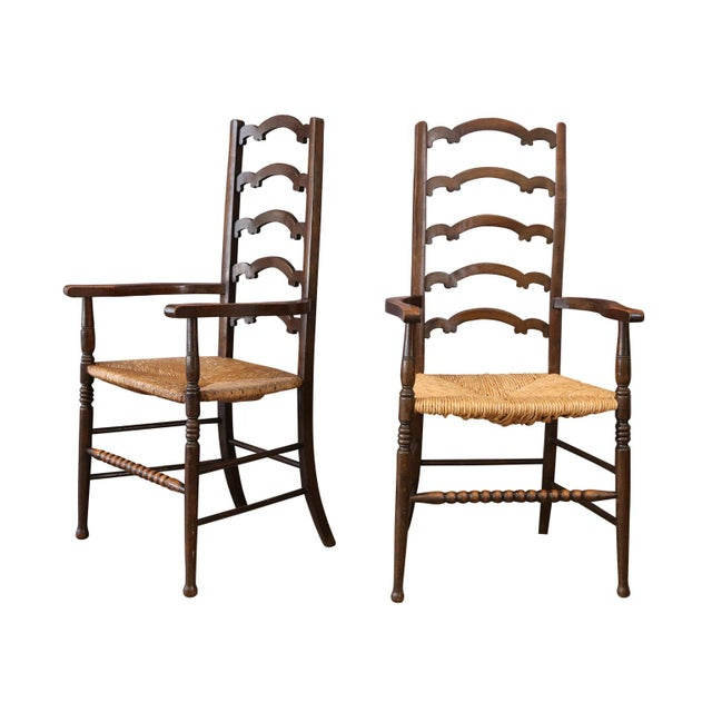 Wood Unique Ladder-Back Chairs For Sale - Image 7 of 7