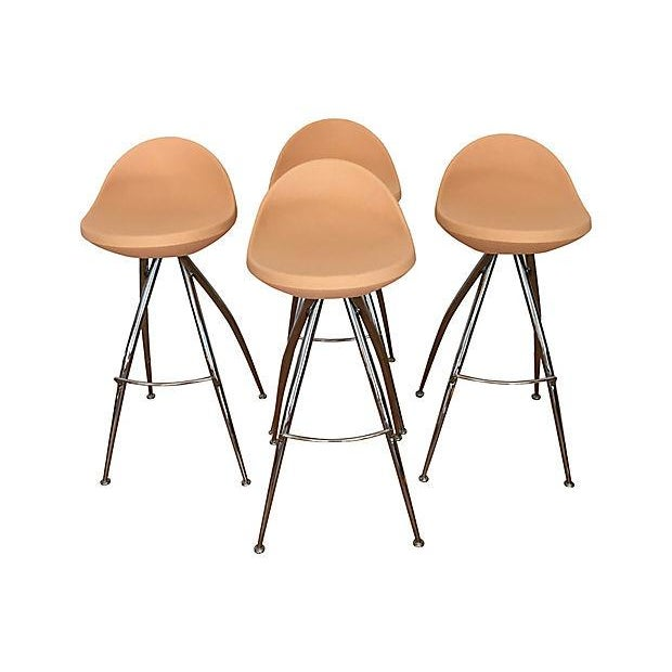 Orange Roberto Foschia Italian Midj Bar Stools - Set of 4 For Sale - Image 8 of 8