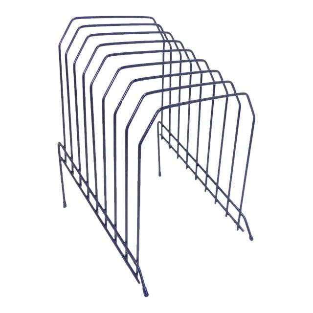 Slanted Navy Blue Metal Wire Desktop File For Sale