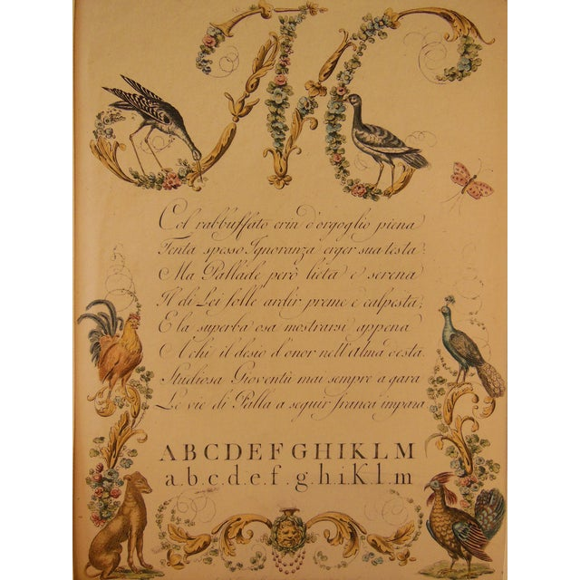 """1790s Illustrated Letter """"M"""" Calligraphy - Image 3 of 7"""