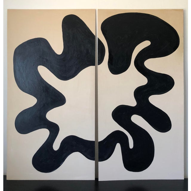 Loop Abstract Acrylic Oversized Diptych Painting For Sale - Image 9 of 9