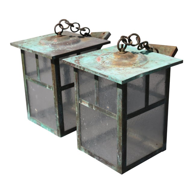 Vintage Weathered Copper and Glass Outdoor Hanging Lanterns - a Pair For Sale