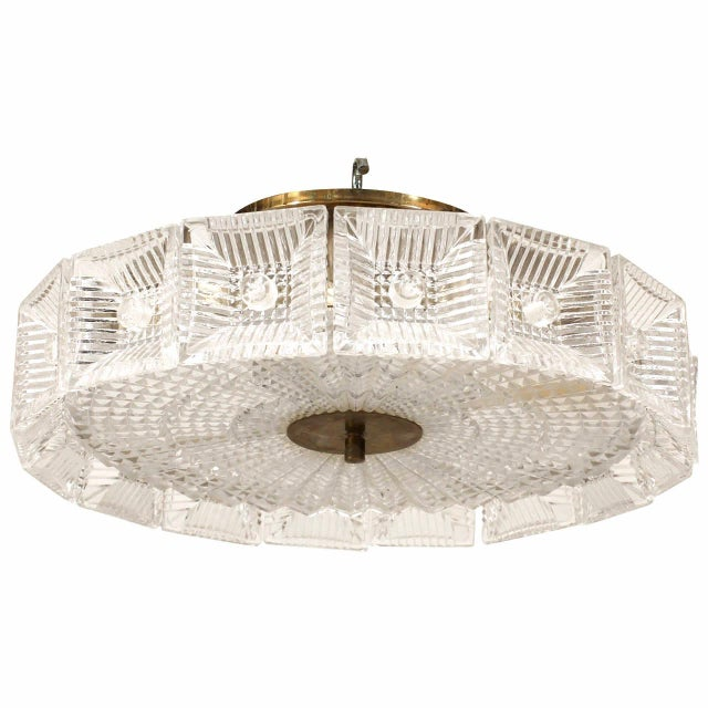 Mid-Century Modern Mid-20th Century Swedish Orrefors Textured Glass Chandelier For Sale - Image 3 of 3